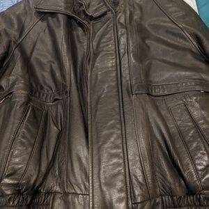 London Fog leather bomber jacket